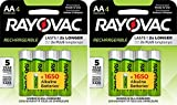 8 Rayovac AA Recharge Rechargeable 1350mAh NiMH Pre-Charged Batteries, (2 x 4...