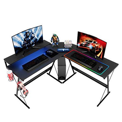 Bestier L-Shaped RGB Gaming Computer Desk,Led Strip Light Storage Shelf Modern Corner PC Laptop Desk Study Table Workstation Home Office Desk with Large Elevated Ergonomic Monitor Shelf Carbon