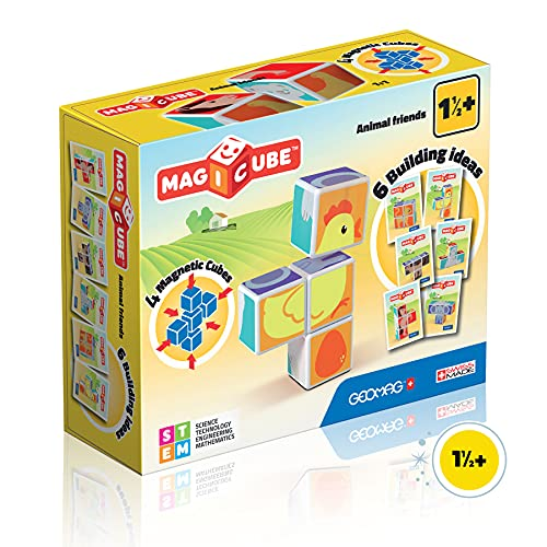Geomag- Magicube Juguete de construcción, Multicolor, 4 Piezas (132) , color/modelo surtido