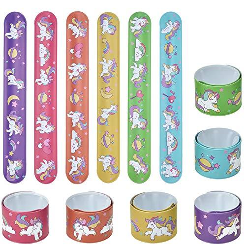 Lynlon 12 x Einhorn Schnapparmbänder | Klatscharmband für Mitgebsel Kindergeburtstag Jungen und Mädchen, als Gastgeschenke