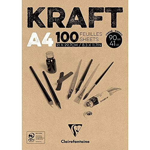 Clairefontaine 96545C - Almohadilla de papel kraft (90 g, A4, 100 hojas, color blanco