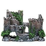 YYMM Acuario resina castillo decoraciones, castillo resina acuario escondite accesorios de acuario pequeño camarón tortuga peces tanque accesorios