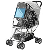 Emoly Upgraded Universal Stroller Rain Cover, Double Door Design & Large Storage Baby Stroller Weather Shield, Waterproof Stroller Cover, Food Grade EVA, Eye Protect (Black)