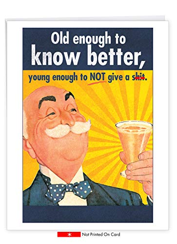 NobleWorks - Jumbo Men's Birthday Card with Envelope (8.5 x 11 Inch) - Funny Retro Bday Greeting Card for Dad, Husband - Old Enough J5411