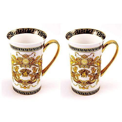 Set of 2 Euro Porcelain Medusa Fine Bone China Coffee Tea Mugs/Cups - White