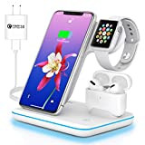 Wireless Charging Station 3 in 1 Wireless Charger for Apple iPhone Watch Airpods,Mildily Charging Dock Stand for iWatch SE/6/5/4/3/2/1,AirPods Pro/2/1, iPhone 11 Series/XS MAX/XR/XS/X/8/8 Plus