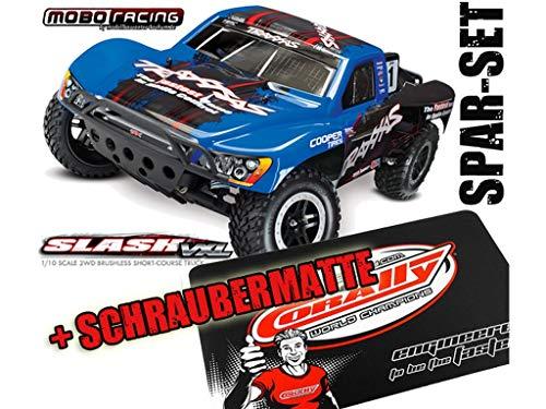 Traxxas 58076-4 Slash VXL Pro 2WD Brushless TSM Blue Race Edition + Schraubermatte + mobo-Racing Sticker