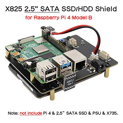 Geekworm Raspberry Pi 4 SATA, Raspberry Pi 4 Modell B 2,5 Zoll SATA HDD/SSD Expansion Board X825 USB3.0 Schild für Raspberry Pi 4B