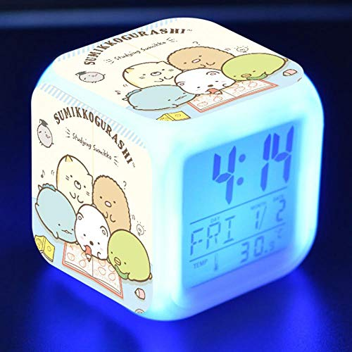 Kawaii Sumikkogurashi Anime Figure LED Alarm Clock Colorful Flash Touch Desk Light Flash Toys for Kids N1