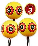 De-Bird Ballons mit Augen zur Vogelabwehr, Vogelschreck, Taubenabwehr, Vogelscheuche - Wirksamer Schutz vor Tauben, Gänse, Spechte - arbeitet mit Ultraschall, Spikes, Vogelnetz: Set aus 3