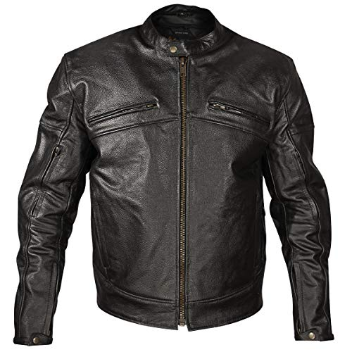 Xelement XSPR105 Men's 'The Racer' Black Armored Leather Racing Jacket - 5X-Large