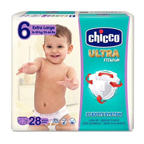 Chicco Chicco Ultra Fit & Fun Windeln, 28 Stück, extra saugfähig, Größe 6, 16-30 kg (Large), 28 Stück