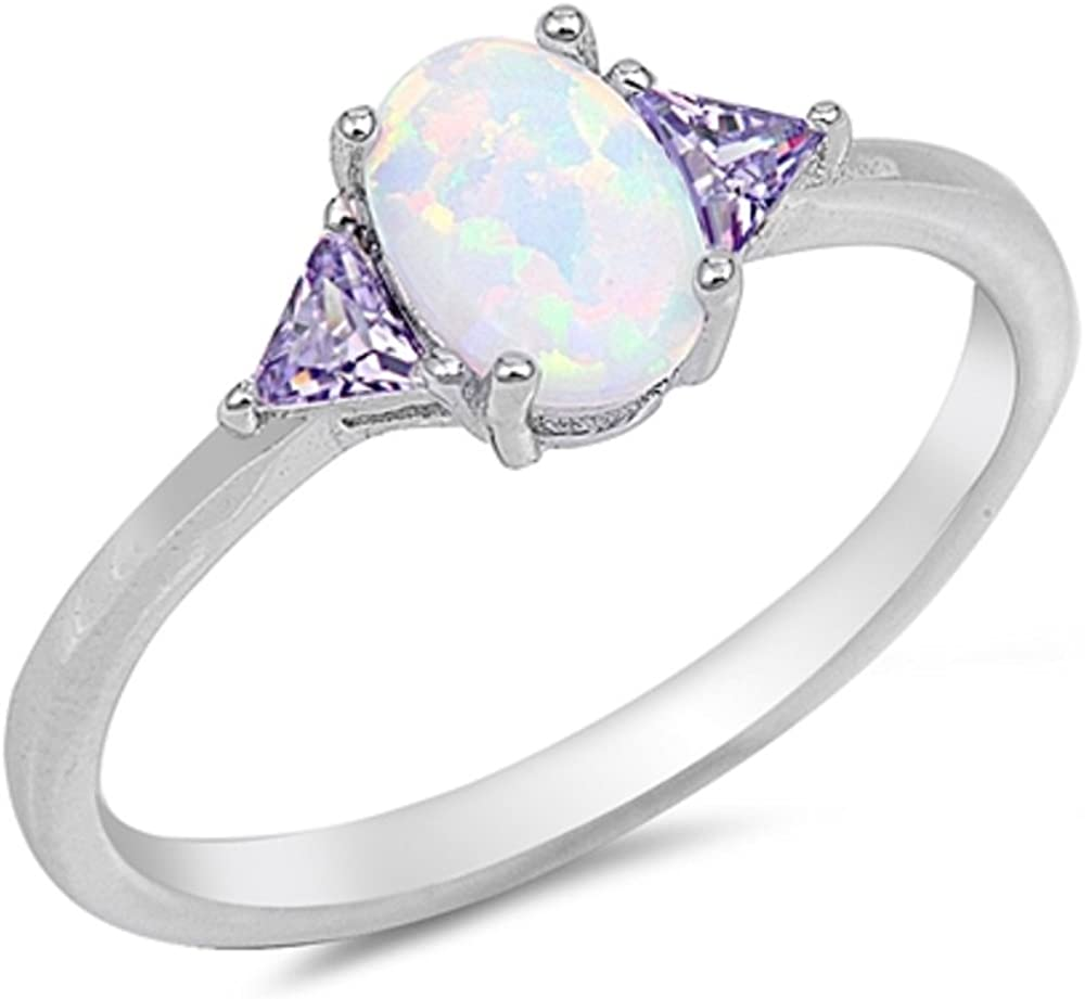 CloseoutWarehouse Simulated Opal Oval Sided Max 41% OFF C Triangle Stones Spring new work by