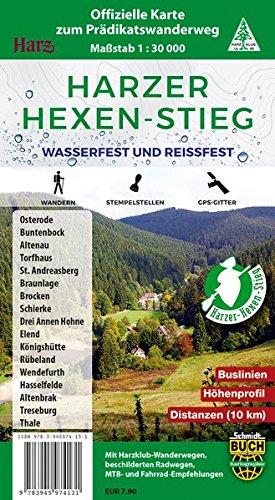 Harzer Hexen-Stieg: Offizielle Karte zum Prädikatswanderweg - wasserfest und reißfest