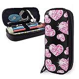 Romantic Pink Heart Stones Estuche portátil para lápices Lindo bolso para bolígrafos de cuero Organizador de escritorio con cremallera Porta bolígrafos de gran capacidad