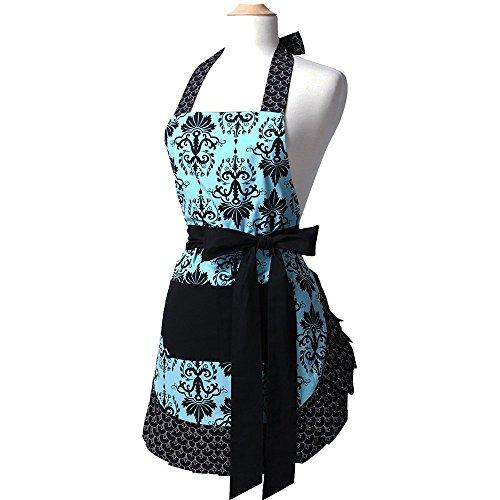 G2PLUS Schön Baumwolle Küchenschürze, Kochen Backen Schürzen, Gute Geschenke für Frau und Mädchen