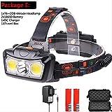 HSZH Phare 30000lm LED Phare T6 + Torch LED Phare Lampe Frontale Lampe de Poche Lampe de Poche Lanterna Head Light Utiliser 2 * 18650 Batterie pour Camping E