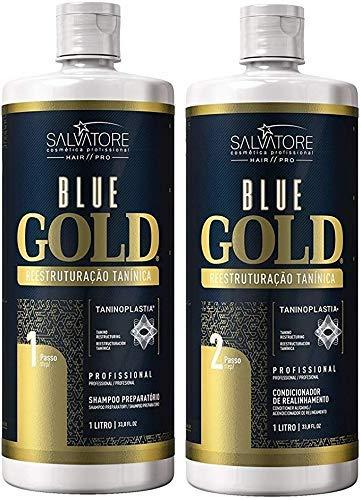 Kit de tratamiento reestructurante del cabello Blue Gold System Tanino 2x1L - Salvatore