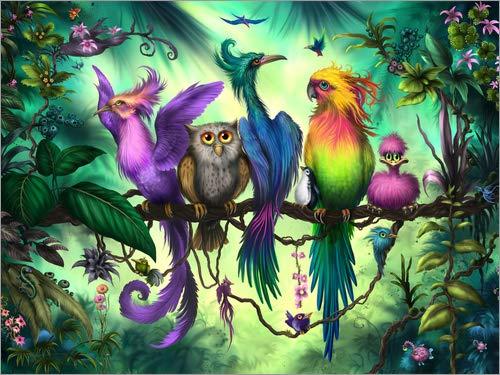 Posterlounge Acrylglasbild 90 x 70 cm: Vogelversammlung von Susann H. - Wandbild, Acryl Glasbild, Druck auf Acryl Glas Bild