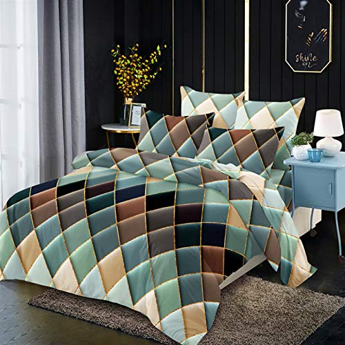 Duvet cover and pillowcase bedding quilt cover single double room king size bed-diamond line green