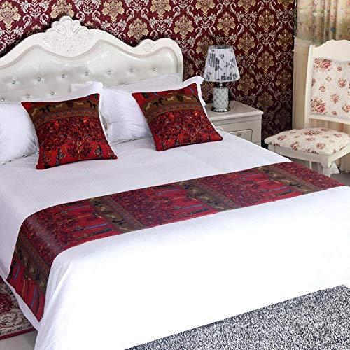YYSWIM Bettläufer Schal Betttuch Bett Fahne Bett Flagge European Star Hotel Original Designer Homestay Designer Betttücher Bettdecke Bett, Burgunder/Berühmt, 50 x 260 cm / 2 m Bett