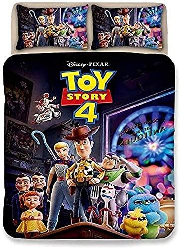CCBZLY Juego de ropa de cama de Toy Story de suave tejido de microfibra para hombres y mujeres, con 1 funda nórdica y 2 fundas de almohada, regalo infantil (M4,180 x 210 cm + 2 x 80 x 80 cm)