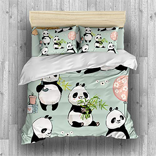 Earendel Fundas Nórdicas Panda De Dibujos Animados Juego De Ropa De Cama Animal Lindo Colcha 2/3/4PCS Fundas De Edredón Nórdico/Almohada/Sábanas,Para Cama 90/135/150/180 (Cama 80/90(140×210cm)-4PCS,1)