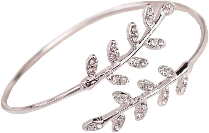 CapsA Swirl Leaf Upper Arm Bracelet Armlet Cuff Bangle Armband Adjustable Cuff Charm Open Bracelet Bangle Arm Jewelry Stackable Boho Skinny Wire Dainty Arm Bangles for Women