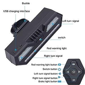 Houkiper - Abalorio inalámbrico con Mando a Distancia para Bicicleta, Intermitentes, USB, Luces LED de Carga