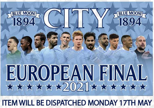 Man City Flag European Final 2021 Large 5ft x 3ft PRE ORDER