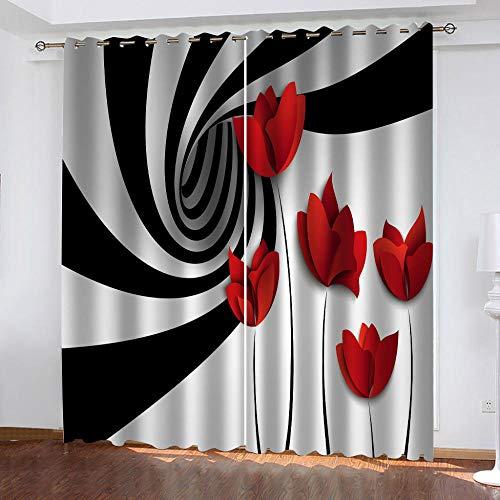 LJUKO Cortina Opaca En Cocina El Salon Dormitorios Habitación Infantil 3D Impresión Digital Ojales Cortinas Termica - -Estampado De Rosas A Rayas Blancas Y Negras