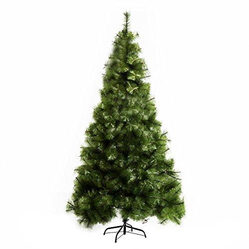 HOMCOM Árbol de Navidad 210cm Artificial Árbol de Pino Decoración Navideña con Soporte Metálico 505 Ramas Verde Pet