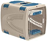 Suncast Deluxe Portable Pet Carrier with Handle, Taupe/Blue, 24' x 17.5' x 18.5'