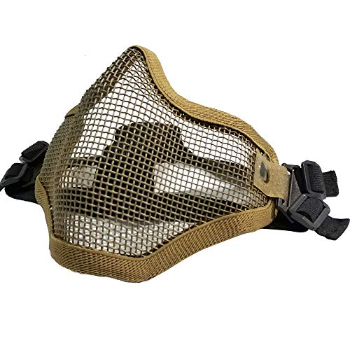 Tactical Airsoft Half Face Mask Foldable Comfortable Lower Face Tactical Wire Steel Metal Net Mesh Protective Mask for with Outdoor Airsoft BK CS War Game BB Gun Hunting Paintball Tan