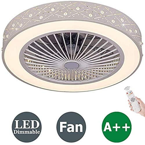 Moderne plafondventilator met verlichting, afstandsbediening dimbare creatieve LED-plafondlamp verstelbare ventilator stille plafondventilator woonkamer slaapkamer kinderkamer plafondlamp,A
