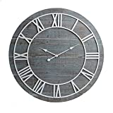 36' Rustic Washed Gray Wood Plank Frameless Wall Clock