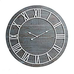 36 Rustic Washed Gray Wood Plank Frameless Wall Clock
