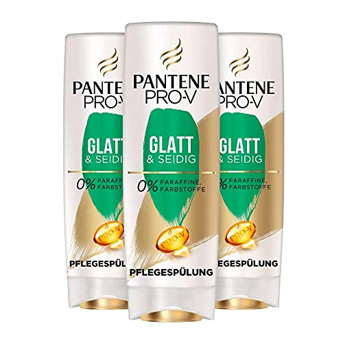 Pantene Pro-V Glatt & Seidig Pflegespülung Für Widerspenstiges Haar, 3er Pack (3 x 200ml), Conditioner, Conditioner Haar, Haarpflege Glanz, Anti-Frizz Conditioner, Beauty