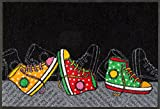 Wash + Dry Tapis Happy Sneakers 50x75 cm, Surface Nylon Semelle: 100% Caoutchouc Nitrile, Multicolore, 80 x 150 cm
