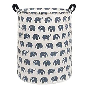 Sanjiaofen Large Storage Bins,Canvas Fabric Laundry Basket Collapsible Storage Baskets for Home,Office,Toy Organizer,Home Decor (Blue Elephant)