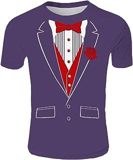 Funnygals Tuxedo Red Rose Funny Men's T-Shirt 3D Print Tops Short Sleeve Crew Neck Slim Fit Tops Blouses Costume