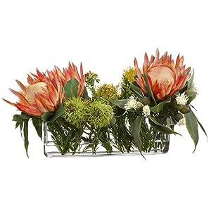 13″ Hx24 W Protea & Eucalyptus Silk Flower Arrangement -Orange/Green