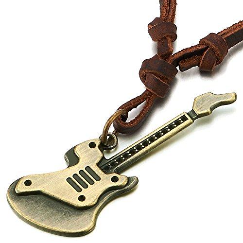 COOLSTEELANDBEYOND Unisexo Vintage Guitarra Collar de Hombre Mujer, Colgante, con Cordón de Marrón Cuero Ajustable