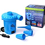 Tidal Wake 12V DC Air Pump for Inflatables, Inflates & Deflates 3 Times Faster on Boat Towables, Pool & Water Toys, Air Beds, Rafts, 1,000 Liters of Air Per Minute! 10 Foot Cord