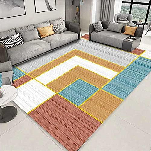 WCCCW Gris Blanco Verde Amarillo geométrico rectángulo patrón de Estudio fácil de Limpiar Oficina Mesa café Decorativo alfombra-80x120cm para Comedor, Dormitorio, Pasillo y Habitación Juvenil
