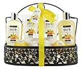 Spa Gift Basket! Beautiful Metal Bath Basket Gifts for Women with Luxe Bath Bombs, Bubble Bath infused with Grapefruit Essential Oil! Natural Spa Baskets for Women with Bath Bombs Body Lotion and more