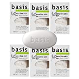 Basis Sensitive Skin Bar Soap - Body Wash Bar Cleans and Soothes with Chamomile and Aloe Vera - 4...