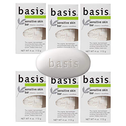 Basis Sensitive Skin Bar Soap - Body Wash Bar Cleans and Soothes with Chamomile and Aloe Vera - 4 oz....