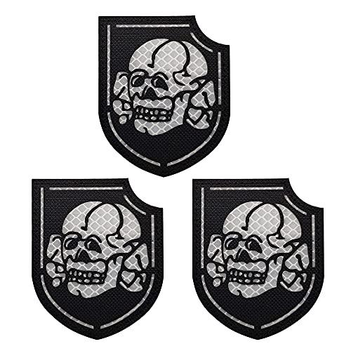 Parche infrarrojo reflectante Diablo Chica Señora Pirata Cráneo Cráneo Crossbones Parches, Emblema Táctico Militar Moral Cierre Gancho y Lazo Apoyo Brazalete Adhesivo Decorativo Apliques