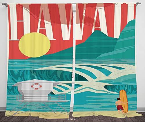 №12951 Blackout Curtains For Bedroom, Thermal Insulated Energy Saving Blackout Curtains / Hawaiian, Hawaii Sandy Coastline Sunny Day Surfboard Tropics Famous Honeymoon Destination, Sand Teal / 84 Leng